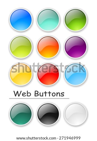 Glossy color web buttons - stock photo