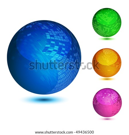 Glossy colorful abstract globes with different mosaic patterns, illustration