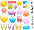 Glossy colorful web elements (raster version) - stock vector