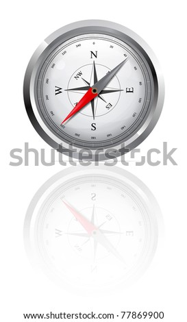Glossy Compass. Illustration on white background