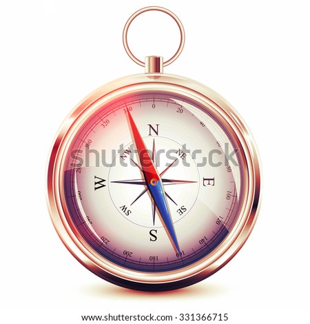 Glossy Compass with windrose on white background - stock photo