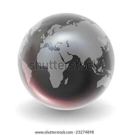 Glossy Crystal Earth Globe - stock photo