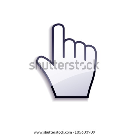 Glossy cursor hand isolated on white background. Raster version.