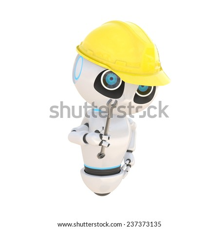Glossy cute white robot Engineer with repair Tool Isolated on white. easily applicable for design - stock photo