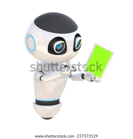 Glossy cute white robot with tablet pc green screen Isolated on white. easily applicable for design - stock photo