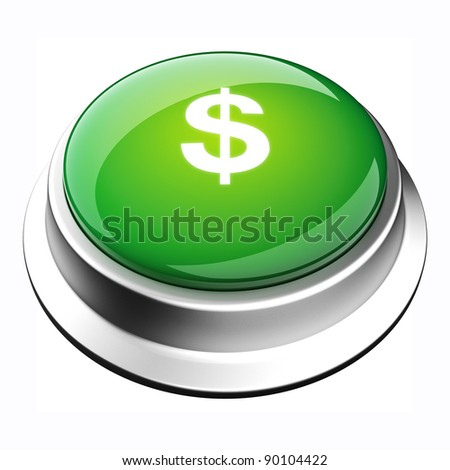 glossy 3D money button in brushed metal frame