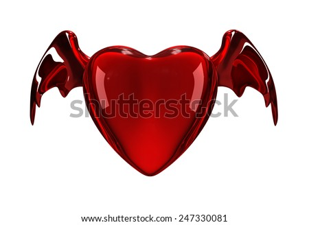 Glossy 3D red heart with horns and tail - stock photo