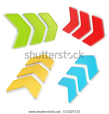 Glossy direction copyspace plate sign isolated on white, set of four green, red, orange, blue - stock photo