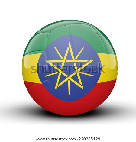 Glossy Ethiopia volleyball ball flag isolated on white background - stock photo