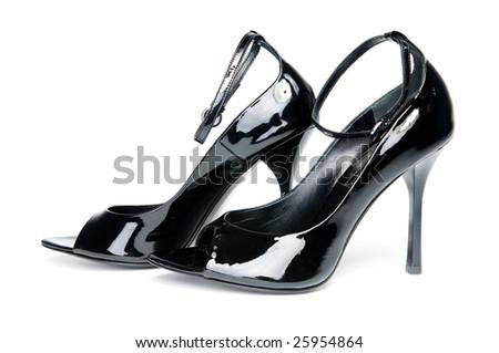 Glossy female shoes, isolated on white background - stock photo