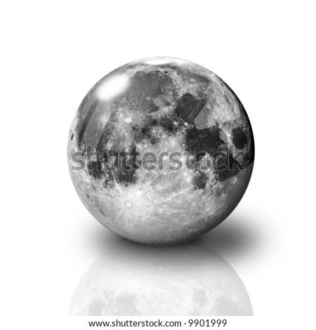 Glossy Full Moon on white background with reflection - stock photo