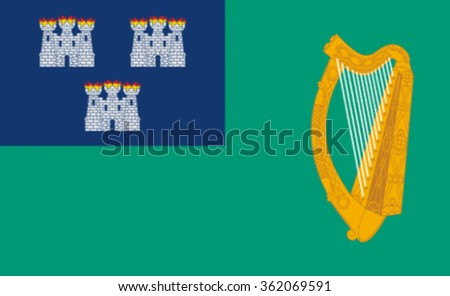 Glossy glass flag of Dublin is in the province of Leinster on Ireland's east coast, at the mouth of the River Liffey. - stock photo