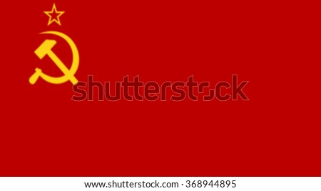 Glossy glass of  Soviet Union (1923-1955) was the official national flag of the Soviet state from 1923 to 1991.  - stock photo