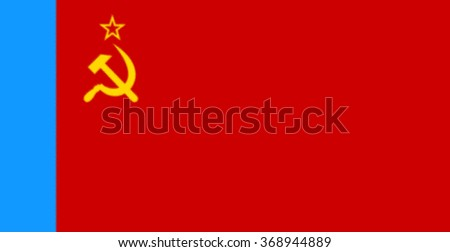 Glossy glass of  the Russian Soviet Federative Socialist Republic (1954-1991) was the official national flag of the Soviet state from 1923 to 1991.  - stock photo