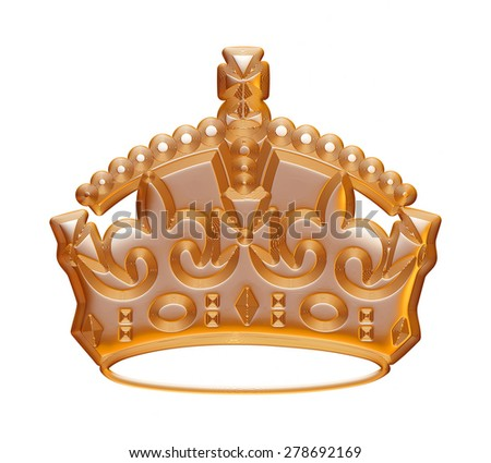 Glossy golden crown isolated on white background.