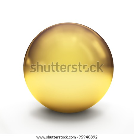 Glossy golden sphere over white background with shadows. 3d-rendering - stock photo
