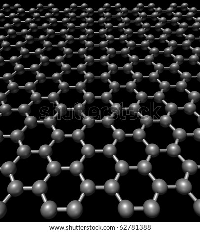 Glossy graphene three-dimensional model - stock photo