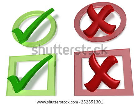 Glossy green Check mark and Cross mark on white background - stock photo