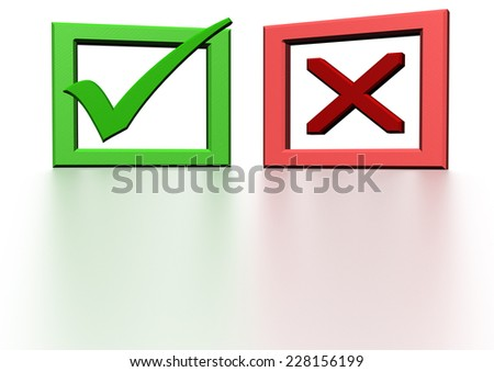 Glossy green Check mark on white background - stock photo