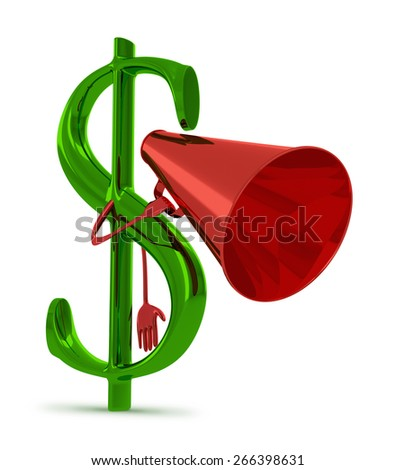 Glossy green dollar sign character with red megaphone isolated on white - stock photo
