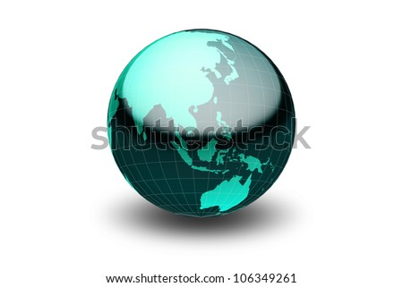 Glossy green globe  with geographical grid facing South East Asia - stock photo
