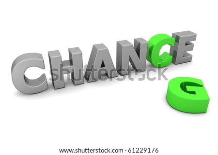 glossy grey word CHANCE with the green letter C and a laying green letter G - stock photo