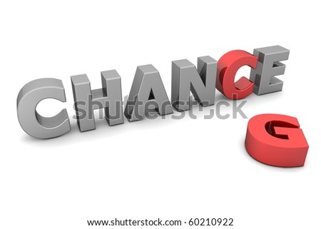 glossy grey word CHANCE with the red letter C and a laying red letter G - stock photo