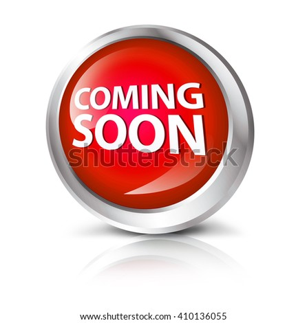 Glossy icon or button with coming soon symbol. - stock photo