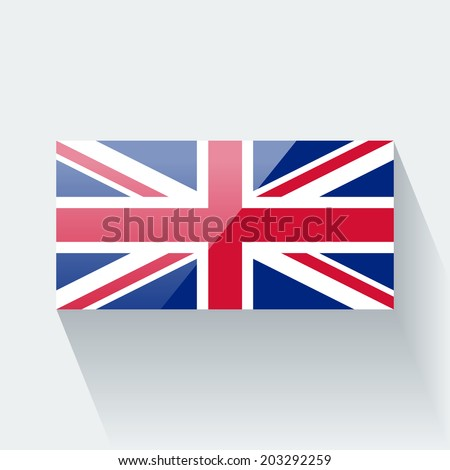 Glossy icon with national flag of the UK. Correct proportions and color scheme. Raster illustration. - stock photo