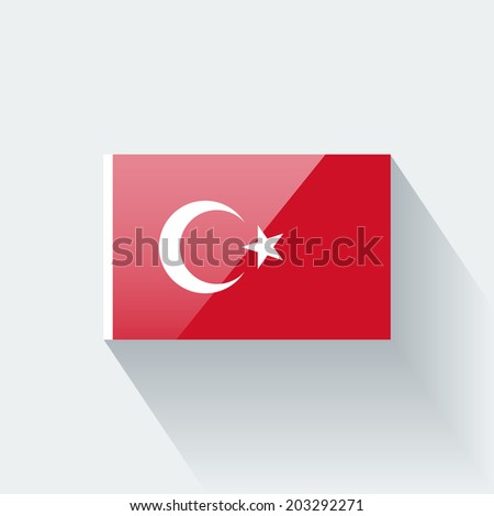 Glossy icon with national flag of Turkey. Correct proportions and color scheme. Raster illustration. - stock photo