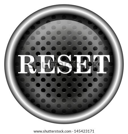 Glossy icon with white design on metallic background - stock photo