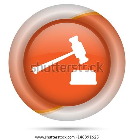 Glossy icon with white design on orange plastic background - stock photo