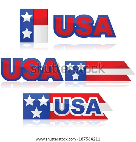 Glossy illustration set with different United States badges - stock photo