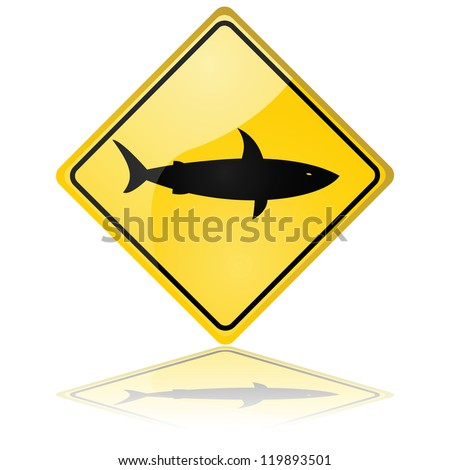 Glossy illustration showing a traffic sign warning about sharks