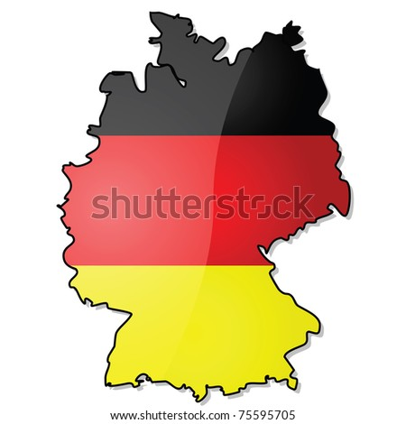 Glossy illustration showing the map of Germany with its flag over it