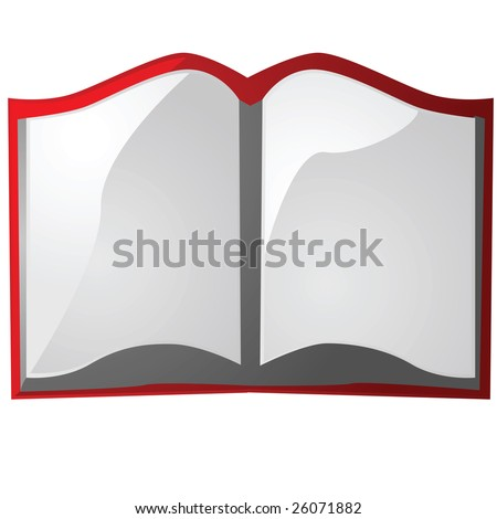Glossy jpeg illustration of an open book with red cover