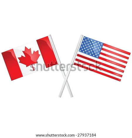 Glossy jpeg illustration of the Canadian and American flags crossed over each other - stock photo