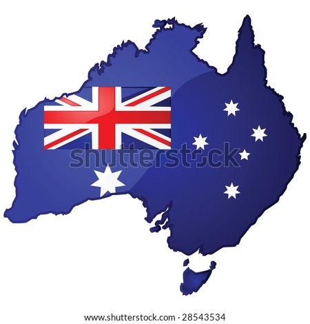 Glossy jpeg illustration of the map of Australia with the Australian flag inside it