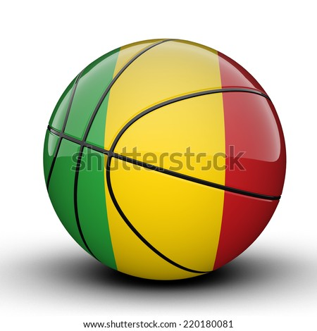 Glossy Mali basketball ball flag isolated on white background - stock photo