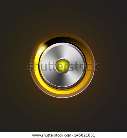 Glossy media player metal button - stock photo