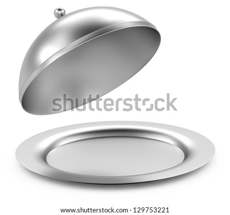 Glossy metal restaurant cloche on white background