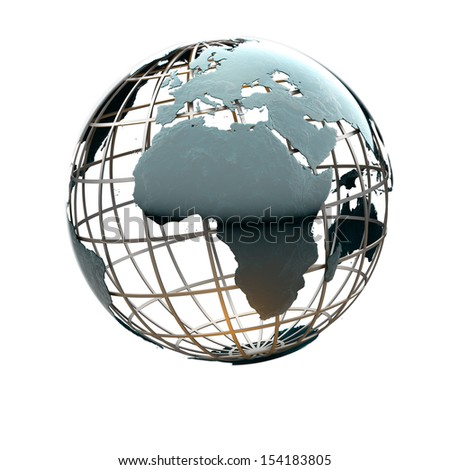 Glossy metallic globe continents on a metal grid facing Africa - stock photo
