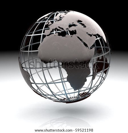 Glossy metallic globe continents on a metal grid facing Africa and Europe - stock photo
