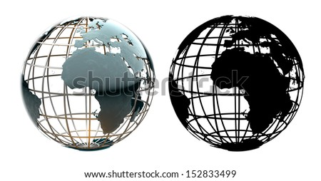 Glossy metallic globe continents on a metal grid facing Africa and the Atlantic Ocean - with corresponding alpha mask - stock photo