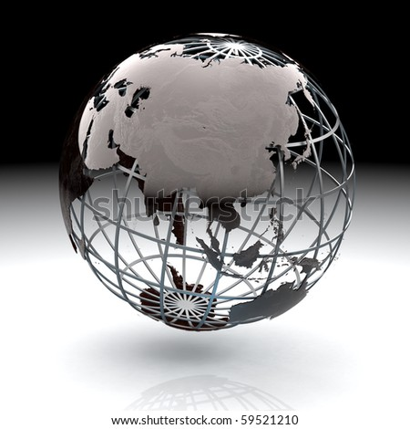 Glossy metallic globe continents on a metal grid facing Asia - stock photo