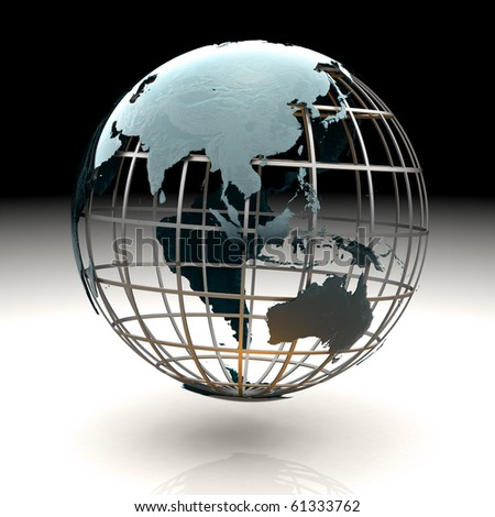 Glossy metallic globe continents on a metal grid facing Asia Indonesia Australia - stock photo