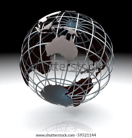 Glossy metallic globe continents on a metal grid facing Australia - stock photo