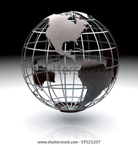 Glossy metallic globe continents on a metal grid facing Central America - stock photo