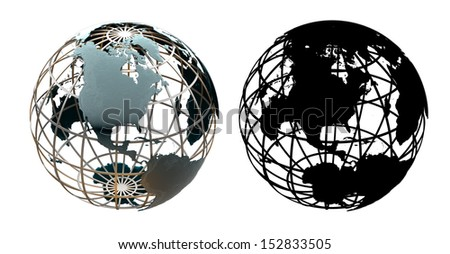Glossy metallic globe continents on a metal grid facing North America - with corresponding alpha mask - stock photo