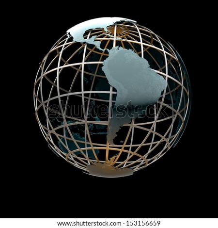 Glossy metallic globe continents on a metal grid facing South America and Pacific Ocean - stock photo